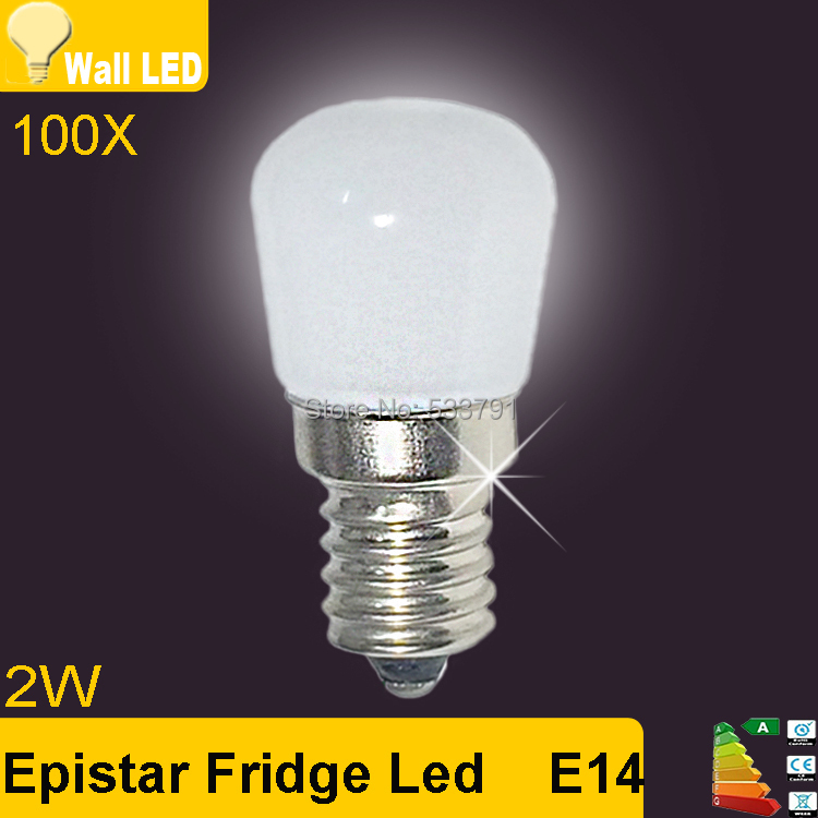 100X The refrigerator light bulb E14 LED energy saving led lamp 220V 2W LED  warm/