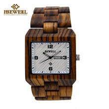 BEWELL Men Watch Top Luxuty Wood Watches Japan 2035 Movement Original Battery Fashion Genuine Wooden Watch relogio masculino