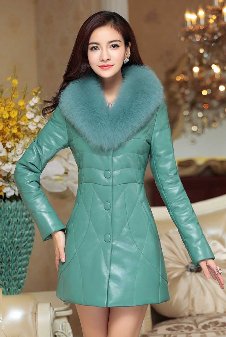 2015 New Winter Pu Leather Women Duck Coats Fur Collar Medium-Long Thicken Women Parka Jacket Plus Size XXL H5020