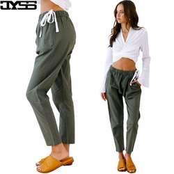 Jyss случайные свободные осень с эластичной талией женские черные Штаны Осень Новый Уличная узкие брюки Тканые штаны для девочек для леди 81203