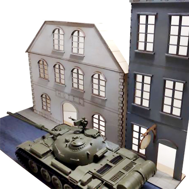 1/35 Scale European Urban Street Scenes Diorama Wooden Assembly DIY Model Kit