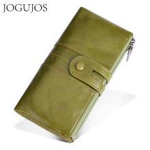 цена JOGUJOS New Unisex Women Clutch RFID Wallets Genuine Leather Men Women Long Wallet Zipper Coin Purse Credit Card Holder Wallet онлайн в 2017 году