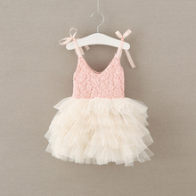 New Baby Girls Dress Kids Suspender Lace Layered Tulle Princess Dress Fashion Girls Clothes