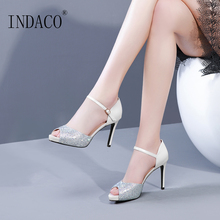 Sandals Women Ankle Strap Platform Leather Summer Shoes High Heels Black Silver 9.5cm
