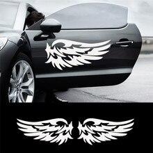 Ангел-хранитель с крыльями прекрасные светоотражающие наклейки для автомобиля модные двери автомобиля для полосы, черный/серебристый/лазер 14 см* 7 см