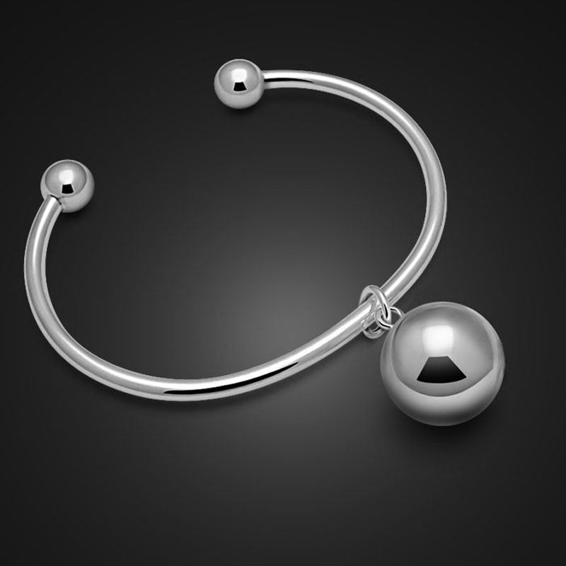 Fashion silver women bracelet.Contracted solid 925 silver bracelet.Ball pendant bracelet bell, lovely girl.Charming lady jewelry