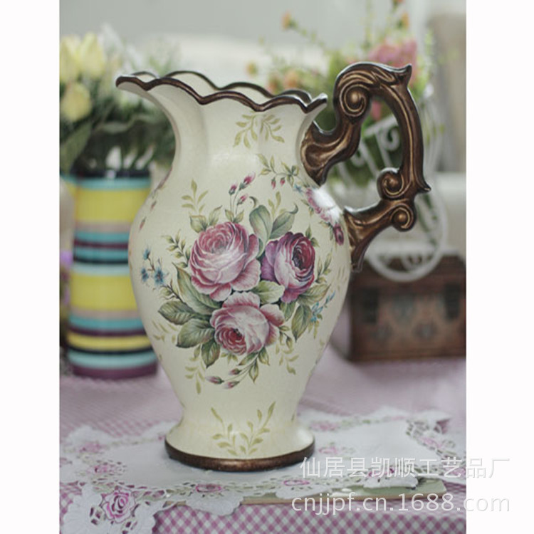 Spot factory direct new European hand-painted ceramic vase rose pattern DV-62101