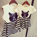 Лето стиль дети девочки babymmclothes семья одежда комплект t - рубашка + юбка соответствия мать дочь одежда марка семья взгляд