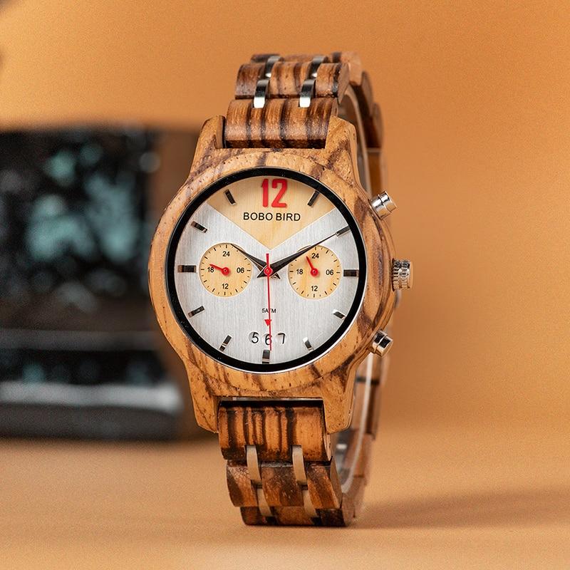 Father's Day BOBOBIRD Men Wood Watch Fashion Casual Design relogio masculino Lovers Wooden Quartz Wrist Idea Gift C-S15 Dropship