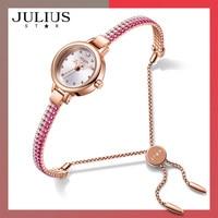 Julius Watch Women's High Quality Brass Exquisite Bracelet Watch Full Color Diamond Dress Watch 30 M Watch JS 007