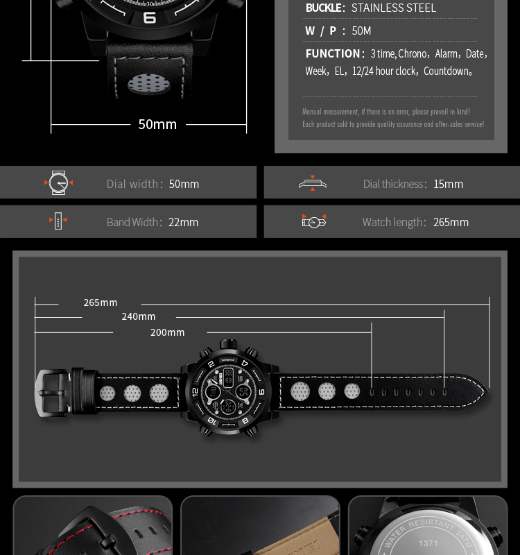 SKMEI 2019 Men\`s Wrist Watches Top Brand Luxury Watch Men Sports Leather Watches Business Digital Watch For Men reloj hombre (11)