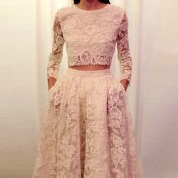 Высокое качество 2015 сексуальные кружевные вечерние платья из двух частей платья для выпускного в деловом стиле с длинными рукавами vestidos de