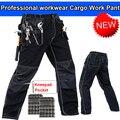 Mens calças de trabalho duráveis polycotton com eva joelheiras preto trabalho workwear pant carperner pant dos homens frete grátis