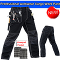 Mens polycotton durable work trousers with eva  knee pads black work pant workwear carperner pant men free shipping