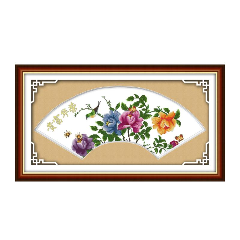 Fan-shaped hand-embroidered Chinese style embroidery cross-stitch suite birds fragrance glory good-looking wall painting