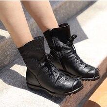 e7837fcfdd Masorini Mulheres Ankle Boots Outono de Salto Baixo Sapatos Femininos  Plataforma Ocasional Curto Bota Lace Up Moda Dobrar Senhor.