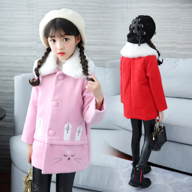 FYH Kids Clothes Girls Fur Collar Woolen Coat Single breasted Children Long Sleeve Thicken Overcoat Girls Cute Bunny Wool Jacket 2017 winter new clothes to overcome the coat of women in the long reed rabbit hair fur fur coat fox raccoon fur collar