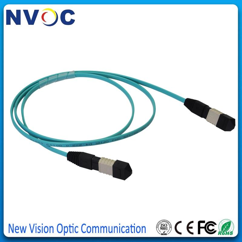US $123 8  2Pcs/Lot,MM,OM4,12core,12M,MPO(NISSIN) Male to MPO Female Fiber  Optic PatchCord,Polarity Type B,3 0mm Mini LSZH Aqua Round Cable-in Telecom