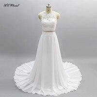 Vestido De Noiva 2019 Simple Boho Wedding Dress Cap Sleeve A Line Lace Chiffon Long Bridal Gowns Vestido De Mariee Custom Made