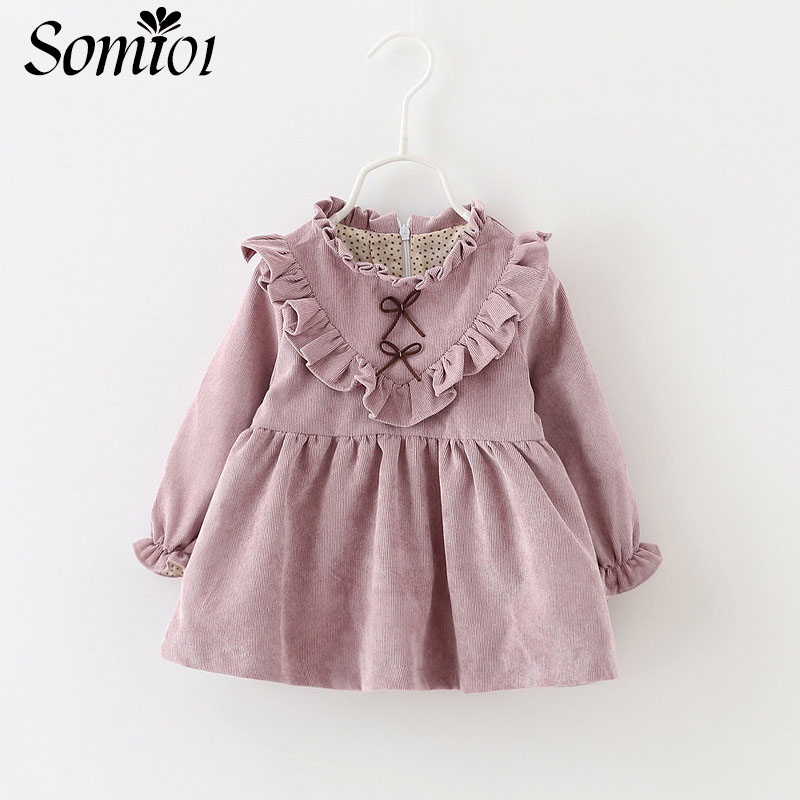 2018 New Children Girl Dress Long Sleeve Fashion Clothing Baby Costume Bow Autumn Winter Warm Girls Princess Dress For 1 2 3T fashion 2016 new autumn girls dress cartoon kids dresses long sleeve princess girl clothes for 2 7y children party striped dress