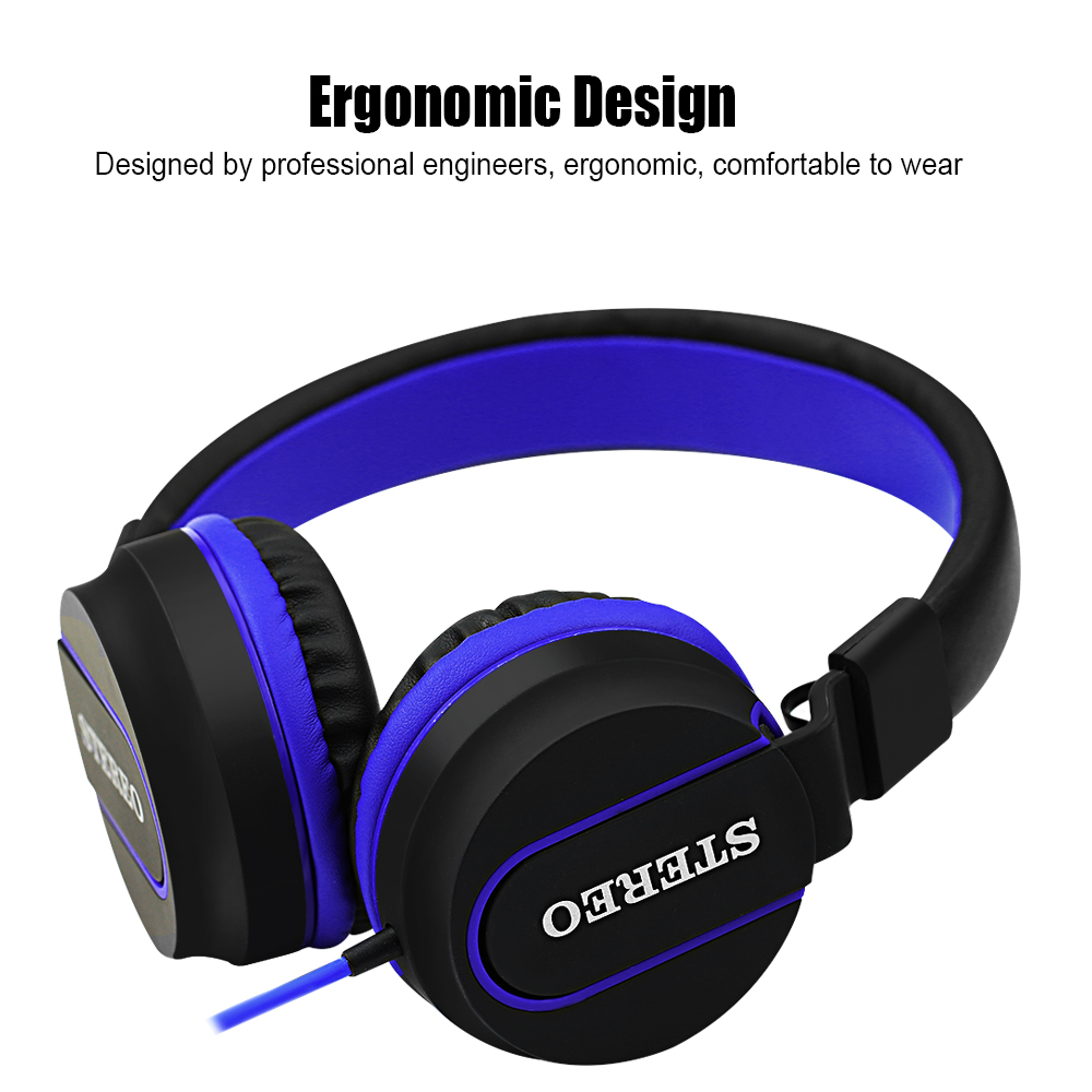 Wired Headphone Over ear Foldable Bass Headphone Headset with Mic for Mobile Phone Computer Tablet Noise