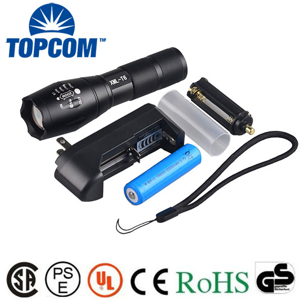 Free ship Tactical Cree led XM L T6 flashlights 3800LM Aluminum Waterproof Zoom Flashlight Torch