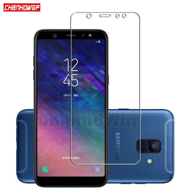 Protector de pantalla de vidrio templado 9H para móvil, película Sklo para Samsung Galaxy A6 2018 A600 A600FN, A6 + A6 Plus 2018 A605 A605FN