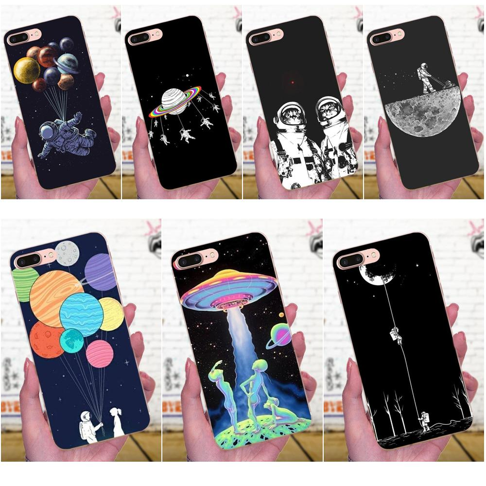 TPU Cases <font><b>Fundas</b></font> Space Moon Astronaut Cat Stylishness And Elegance For Apple <font><b>iPhone</b></font> X XS Max XR 4 4S 5 5C 5S SE 6 6S 7 <font><b>8</b></font> Plus image