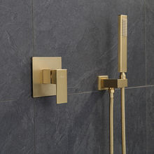 Bathroom Shower Faucet Set Total Brass In-Wall Shower Faucet Hot and Cold Bath Shower Mixer Tap Brushed Gold Bidets Faucet