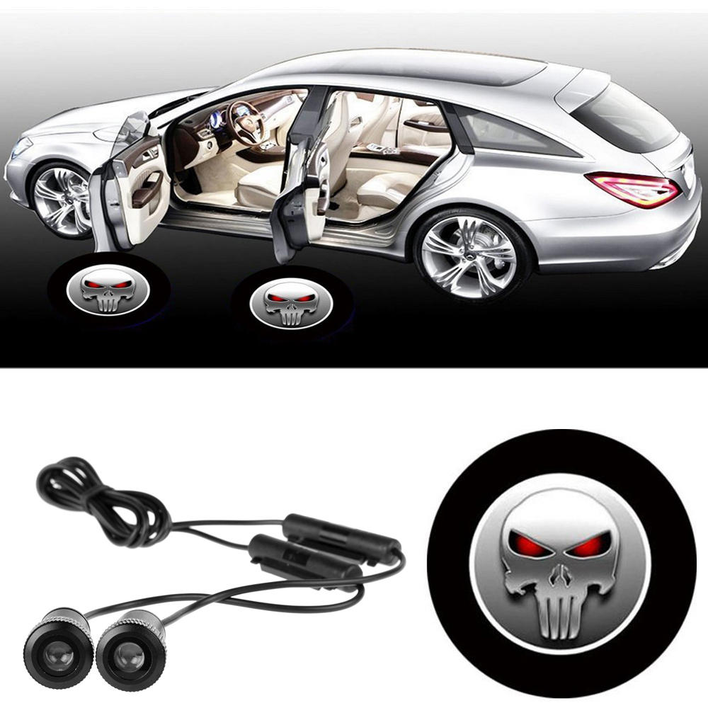 2Pcs 12V LED 7W Logo Door Light Car door Led Auto Welcome Lamp Auto Laser Projector Logo Ghost Shadow Light 3D For SKULL Skeleto for skoda octavia led 3w welcome car door logo lights projector laser ghost 3d shadow accessories original door light replace