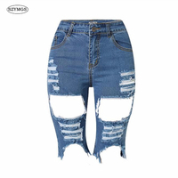 SZYMGS ElastiRipped Na Altura Do Joelho Calças jeans rasgado Shorts jeans para as mulheres Calças Curtas Calças de brim Do Furo mulher Angustiado Calções pantalon