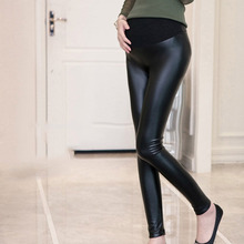 Pregnant Women Autumn Leather Trousers Fleece Lined Elastic Skinny Pencil Pants YJS Dropship