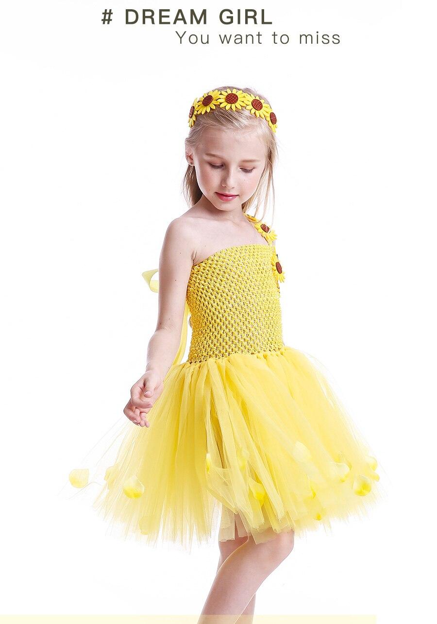 Yellow Petals Flower Girls Tutu Dress Handmade Kids Princess Party