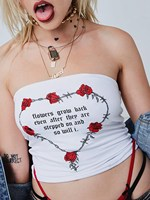 New Fall White Off Shoulder Rose Heart Print Crop Top Fashion Letter Print Cropped Tops