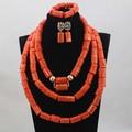 Gran Regalo de la Joyería de Coral Perlas Del Collar De Coral Con Cuentas de La Boda Real Partido de Inspiración Africana Bisutería Set QW957