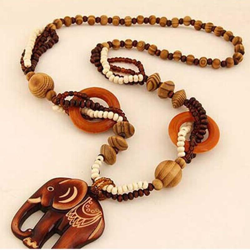 Women Bohemian Ethnic Style Long Bead Wooden Elephant Sweater Necklace