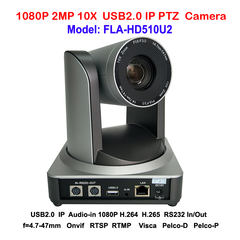 Professional H.265 2MP Full HD Indoor PTZ Camera 10x Optical Zoom USB 2.0 IP Streaming Audio Input With 60.9 degree FOV 2mp hdmi full hd broadcast 12x zoom ptz video conference camera audio with ip usb2 0 usb3 0 interface