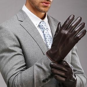 Image 3 - Guantes de piel auténtica de alta calidad para hombre, guante de piel de oveja con pantalla táctil de invierno térmico, para conducir en muñeca, Delgado, EM011