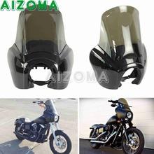 Preto Carenagem Do Farol w/Tela Máscara Fumaça Windshield Windscreen Kit Motocicleta Farol Para Harley FXR Dyna T-Sport 1987-2017