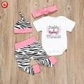 2017 Spring Baby Girls Cotton Clothing 4pcs/Set(Short Sleeve Romper+Hat+Headband+Zebra Stripe Pants) Infant Newborn Clothes