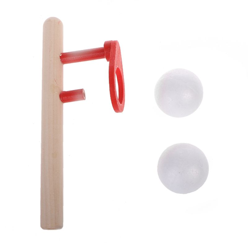 Children Educational Puzzle Toy Wooden Handle Whistle Foam Ball Floating Game Blowing Air Toys