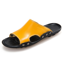 VKERGB Fashion Summer Leisure Beach Men Sandals Shoes For Durable Breathable  Leather Slippers Casual