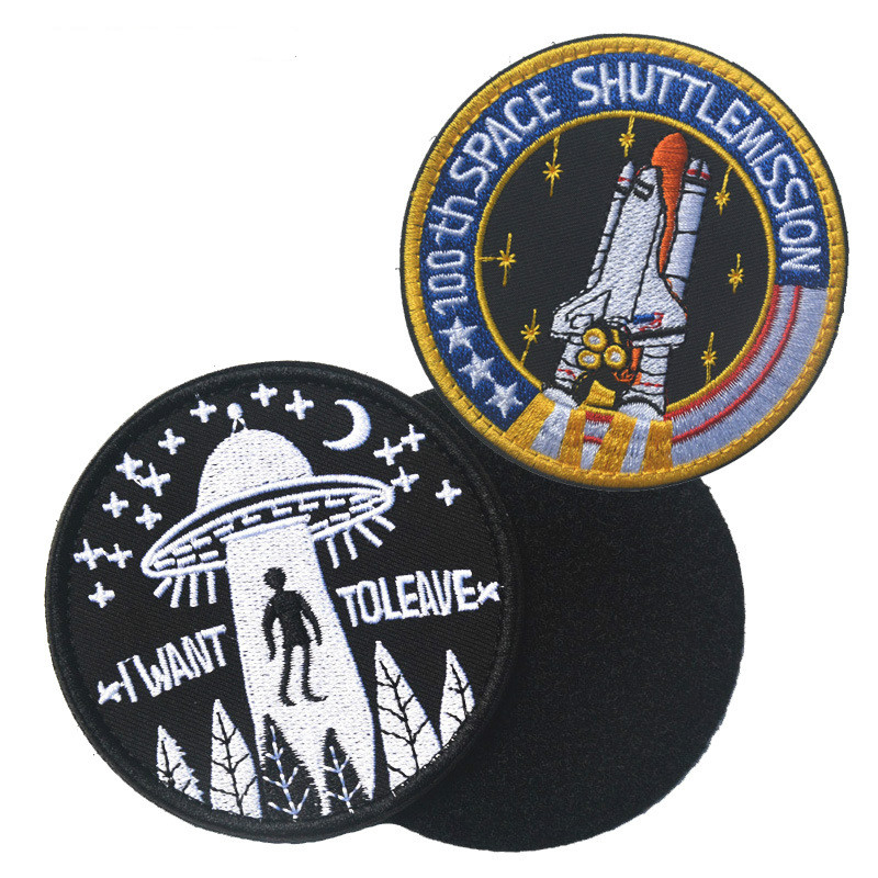 Collectibles Embroidered Fabric Badges Universe Space UFO Flight Astronaut armband Hook Loop Fasteners Applique Clothing Jeans in Badges from Home Garden