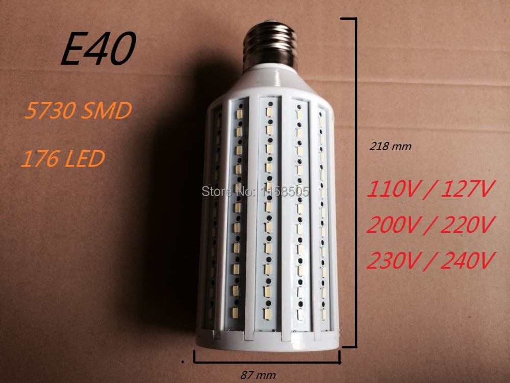 High brightness 55W LED bulb Lamp E40 176 SMD 5730 LED Light LED Corn Light AC110/220V Warm White Cool White 1pc free shippingHigh brightness 55W LED bulb Lamp E40 176 SMD 5730 LED Light LED Corn Light AC110/220V Warm White Cool White 1pc free shipping
