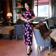 New Arrival Traditional Chinese Style Evening Dress Women Satin Print Flower Slim Qipao Vintage Elegant Cheongsam Size M – XXXL