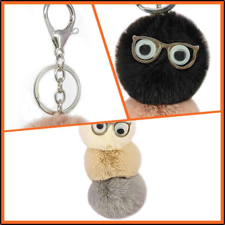 Nova animal pingentes chaveiro usar óculos caterpillar chaveiro 5cm pele do falso pompom chaveiro titular saco encantador acessórios k1669