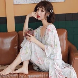 Image 5 - Pyjama chaud en coton pour Femme, nouvelle collection, manches longues, doux, ensemble 3 pièces printemps automne, fleurs