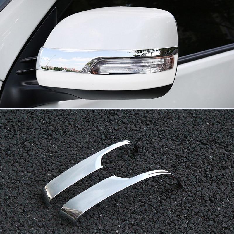 Chrome Rearview Side Door Mirrors Cover Trim For Toyota Prado FJ150 2010-2018