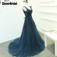 Deep V Back Sleeveless Crystal Applique Navy Homecoming Dresses A Line Tulle 8 Grade Graduation Dresses