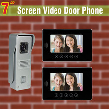 7 Inch Video Door Phone Intercom System Video doorbell Door Bell Aluminium alloy night vision camera visual Intercom for Home